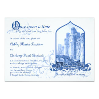 Fairytale Royal Blue Castle Once Upon Wedding 5x7 Paper Invitation Card