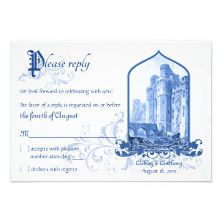Fairytale Royal Blue Castle Once Upon Wedding RSVP Invitations