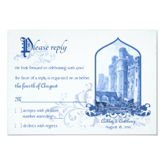 Fairytale Royal Blue Castle Once Upon Wedding RSVP 3.5x5 Paper Invitation Card