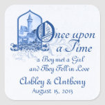 Fairytale Royal Blue Castle Once Upon Wedding Seal Square Sticker