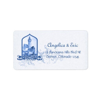 Fairytale Royal Blue Castle Wedding Return Address Personalized Address Label