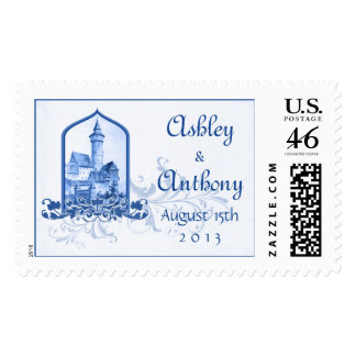 Fairytale Royal Blue White Castle Wedding Postage