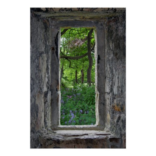 Fairytale Stone Window with View of Flowers Posters