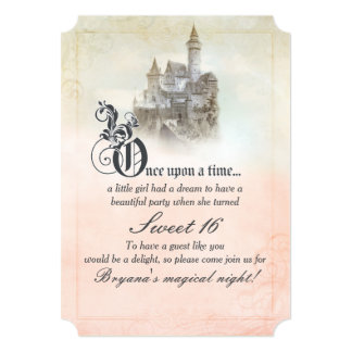 Fairytale Storybook Castle Sweet 16 Invitations