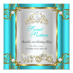 Fairytale Sweet 16 16th Birthday Turquoise Teal 2 Card