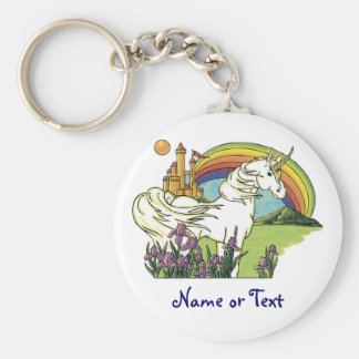 Fairytale Unicorn Basic Round Button Keychain