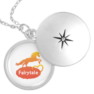 Fairytale Unicorn with Love Silver Plated Necklace