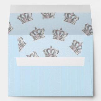 Fairytale Vintage Crown Blue Invitation Envelope