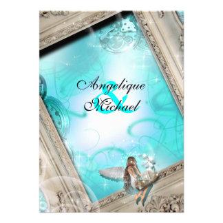Fairytale wedding aqua blue card