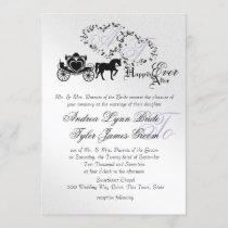 Fairytale Wedding Carriage Silver Invitation