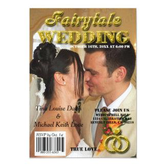 Fairytale Wedding Gold Glitter Magazine Cover Card