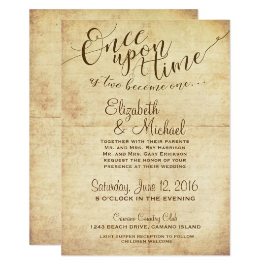 Fairytale Wedding Invitation Once Upon A Time Zazzlecom