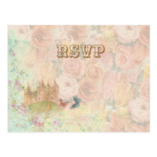 Fairytale wedding RSVP Postcard