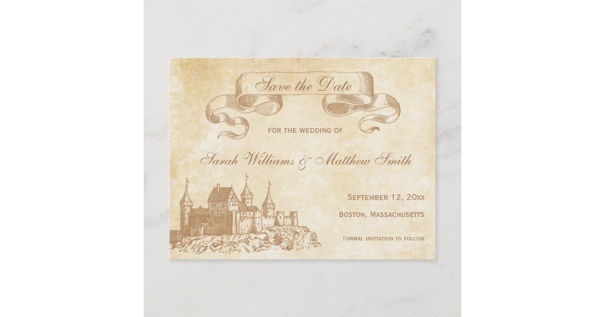 Beauty and the Beast Elegant Storybook Save the Date Postcard Fairy Tale Wedding Collection