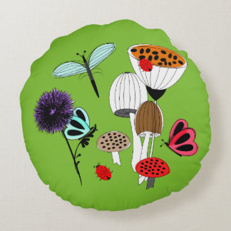 Fairytale Whimsy Nature Garden Round Pillow