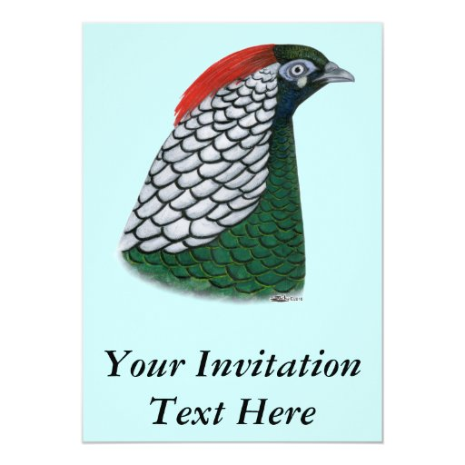"Faisán:  Señora Amherst Head Invitación 5"" X 7"""