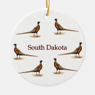 Faisanes de Dakota del Sur Adorno Redondo De Cerámica