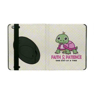 Faith an Patience: Breast Cancer Pink Green Turtle iPad Case