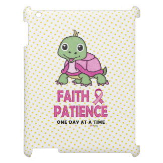 Faith an Patience: Breast Cancer Pink Green Turtle iPad Covers