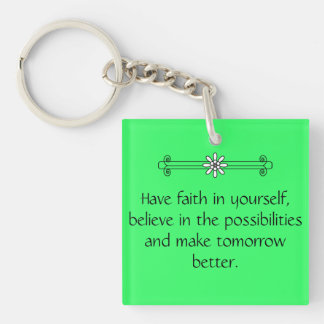 Faith and Belief Double-Sided Square Acrylic Keychain