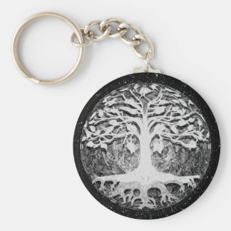 Faith and Hope Tree of Life Black and White Keychain