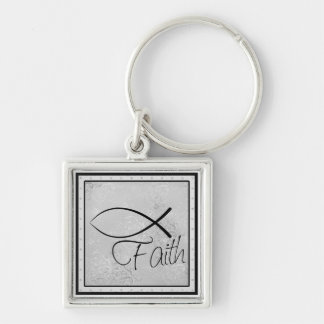 Faith and Jesus Fish (Ichthus) Keychain
