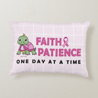 Faith and Patience (Breast Cancer Awareness) Decorative Pillow