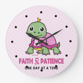 Faith and Patience (Breast Cancer Awareness) Large Clock