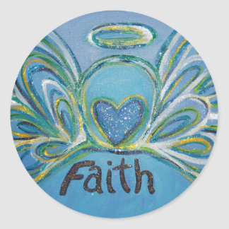 Faith Angel Inspirational Word Art Custom Stickers