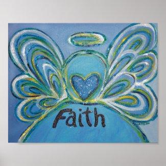 Faith Angel Inspirational Word Art Print Poster