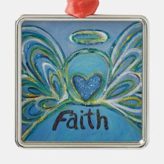 Faith Angel Word Art Gift Holiday Ornaments