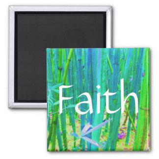 Faith Bamboo Blue and Green 2 Inch Square Magnet