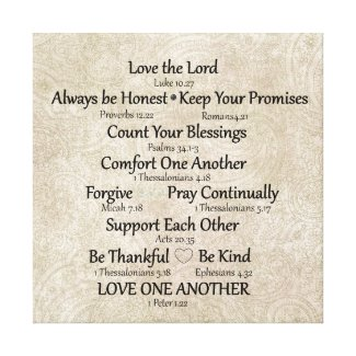 Faith (bible verse) and Family Rules Canvas Print