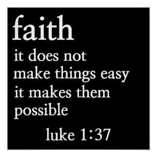 faith bible verse luke 1:37 poster perfect poster