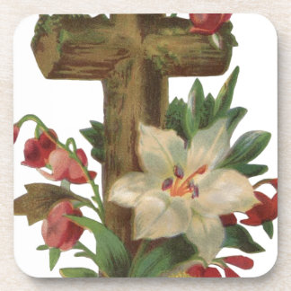 faith blessing vintage floral wood cross vines art coaster
