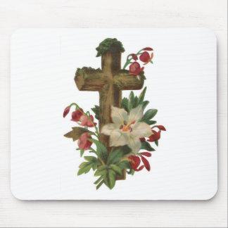 faith blessing vintage floral wood cross vines art mouse pad