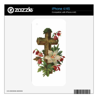 faith blessing vintage floral wood cross vines art decal for the iPhone 4S