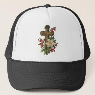 faith blessing vintage floral wood cross vines art trucker hat