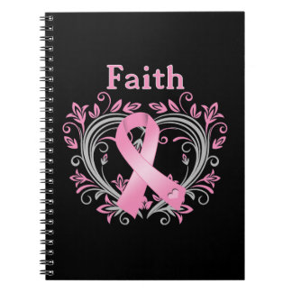 Faith Breast Cancer Awareness Ribbon Notebook