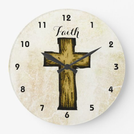 Faith Brown Wooden Cross Hope and Inspiration Large Clock