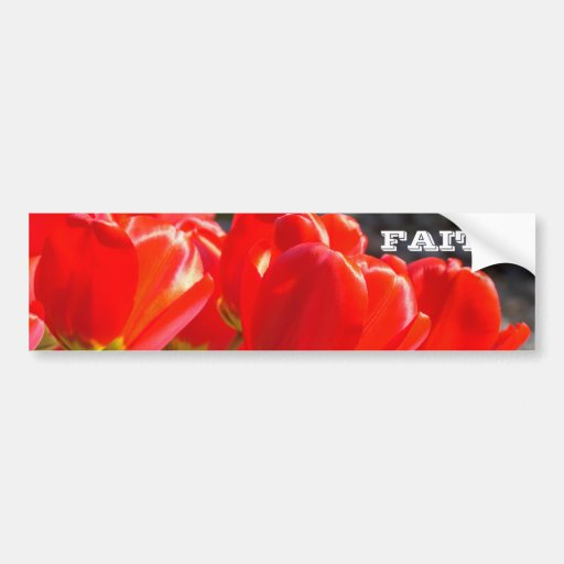 Faith bumper stickers Red Tulip Flowers