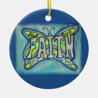 Faith Butterfly Word Art Gift Holiday Ornament