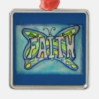 Faith Butterfly Word Art Gift Holiday Ornaments