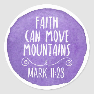 Faith Can Move Mountains Christian Stickers Purple