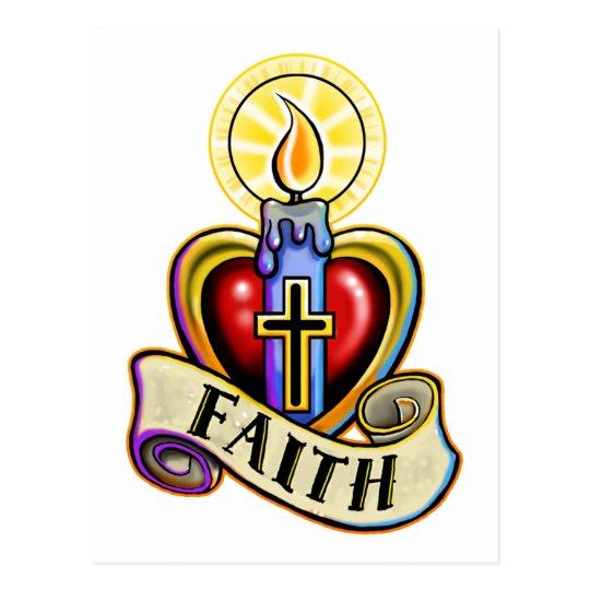 Faith Candle Heart Cross Design Postcard