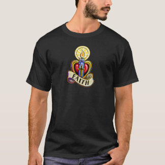 Faith Candle Heart Cross Design T-Shirt
