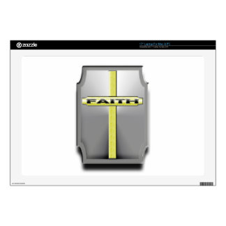 FAITH Christian Cross Silver and Gold SHIELD Decals For Laptops
