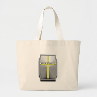 FAITH Christian Cross Silver and Gold SHIELD Large Tote Bag