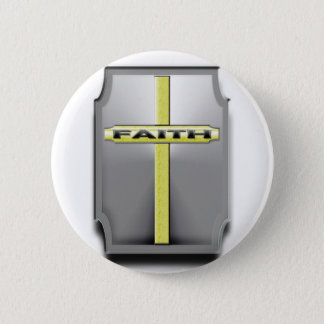 FAITH Christian Cross Silver and Gold SHIELD Pinback Button