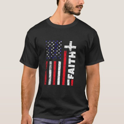 Faith Christian Red White Blue Flag T_Shirt